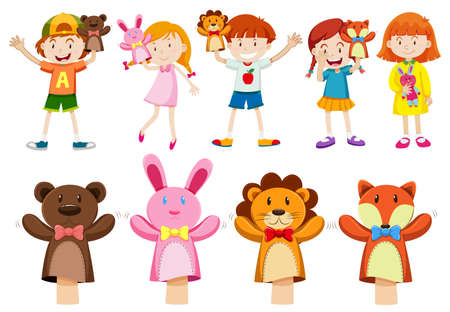 puppets: Boys and girls with hand puppets illustration