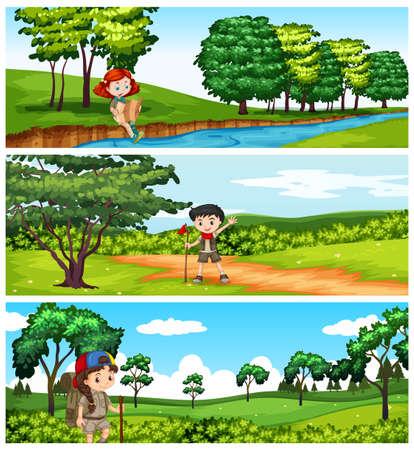 hiking: Children hiking in the park illustration