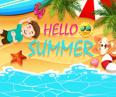 summer dog: Summer theme with boy and dog on the beach illustration