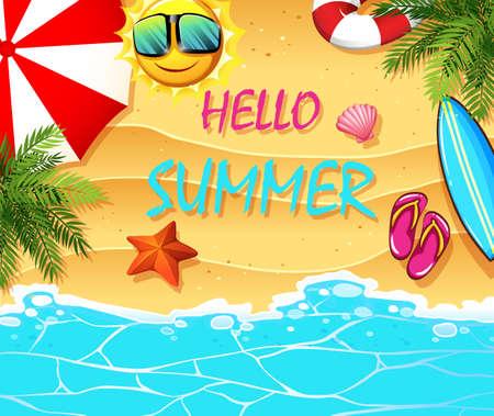 Sommer-Thema mit Elementen am Strand Illustration