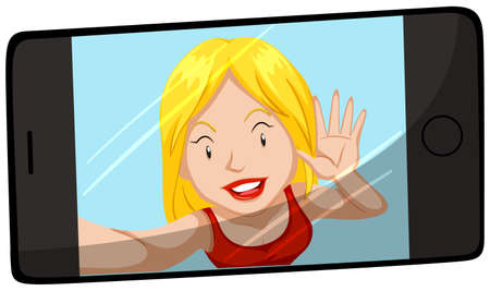 woman cellphone: Woman smiling on cellphone screen illustration Illustration