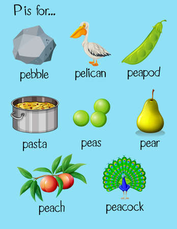 phonetics: Many words begin with letter P illustration