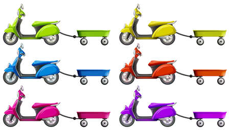 motocycle: Scooters and wagon in different colors illustration