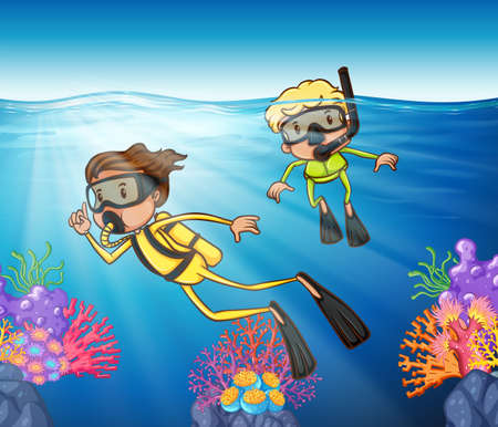 Two people scuba diving under the ocean illustration Stock Vector - 59887151