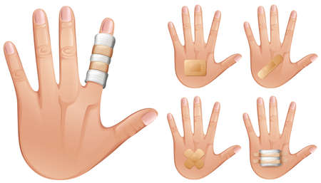 multiple image: Fingers and hands wrapped with bandages illustration Illustration