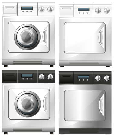 dryer: Washing machine and dryer machine illustration