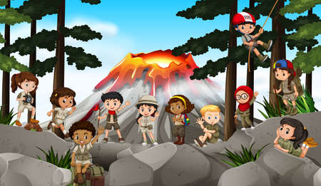 adventures: Children camping out in the woods illustration Illustration