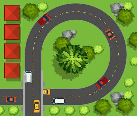 car garden: Cars driving around the circle illustration Illustration