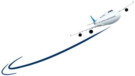 airplane: Airplane flying on white background illustration Illustration
