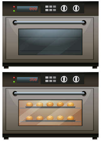 toasted: Oven with and without food in it illustration