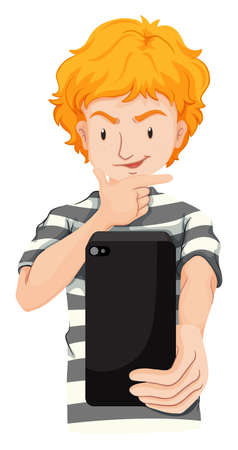 blond hair: Man with blond hair taking picture illustration