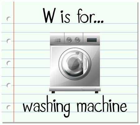 washing machine: Flashcard letter W is for washing machine illustration