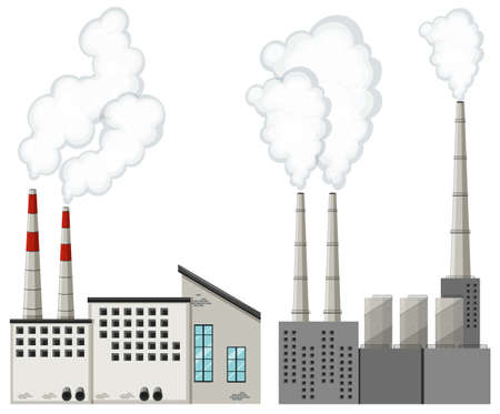 industrail: Factory buildings with tall chimneys illustration
