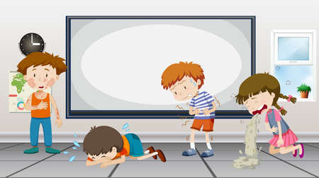 stomach pain: Boys and girls being sick in classroom illustration Illustration