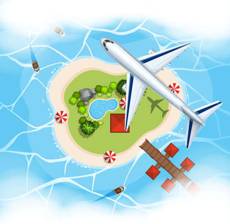 marine scene: Aerial scene with airplane flying over island illustration
