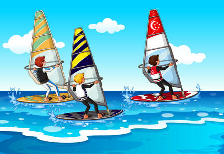 water sport: People doing windsurfing in the sea illustration