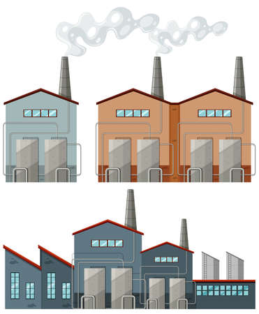 clipart chimney: Factory buildings with chimneys illustration Illustration