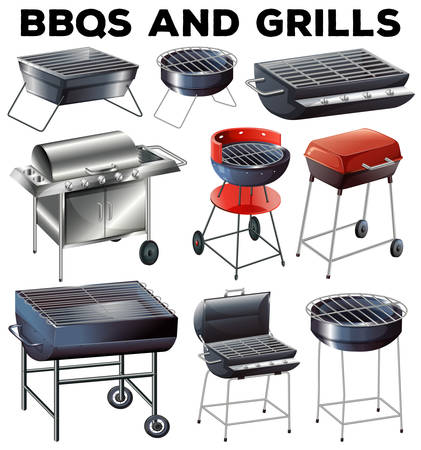 gas barbecue: Set of bbqs and grills equipment illustration
