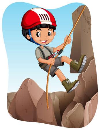 niño escalando: Muchacho que sube hasta la ilustración de montaña Vectores