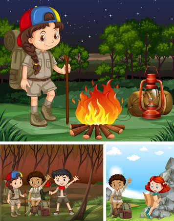forest clipart: Children camping out in the forest illustration Illustration