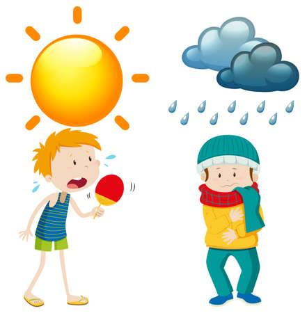 Die Menschen im Sommer und Winter Illustration