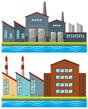 clipart chimney: Factory buildings with tall chimneys illustration