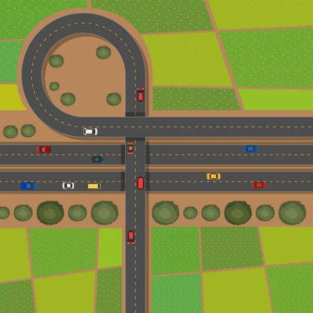 landscape road: Scene with roads and farmlands illustration Illustration