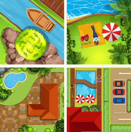 aerial view: Aerial view of different scenes of parks illustration Illustration