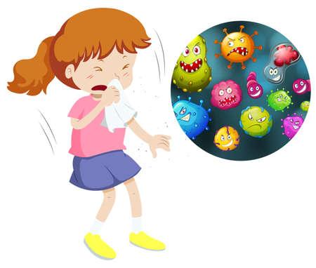 Meisje niezen en hoesten van het hebben van ziektekiemen illustratie Stock Illustratie