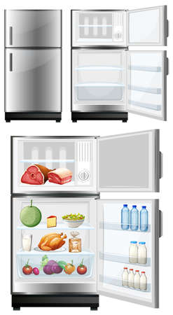 food storage: Refrigerator with food in the storage illustration