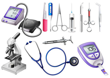 Set of medical equipment illustration Çizim