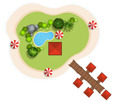 island clipart: Aerial scene with swimming pool and bridge illustration