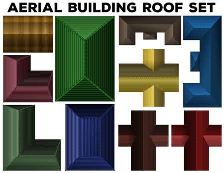 rooftop: Aerial building roof set illustration Illustration
