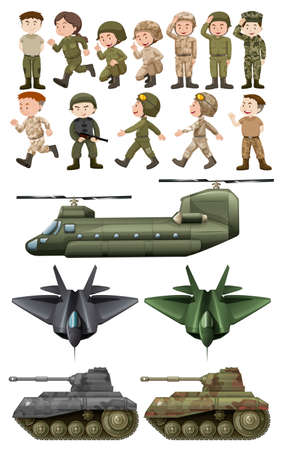 hovercraft: Soldiers and different kinds of transportations illustration