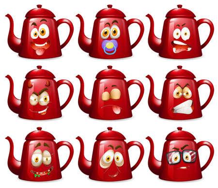 expresiones faciales: teteras rojas con expresiones faciales ilustración Vectores