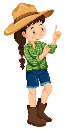 cute young farm girl: Farm girl in green shirt illustration Illustration