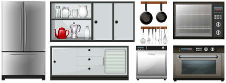 maching: Kitchen appliances and furniture illustration Illustration