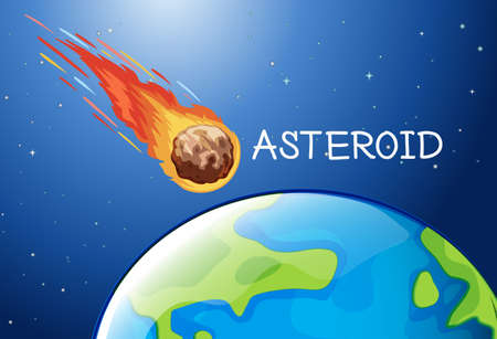 asteroid: Asteroid flying in the space illustration