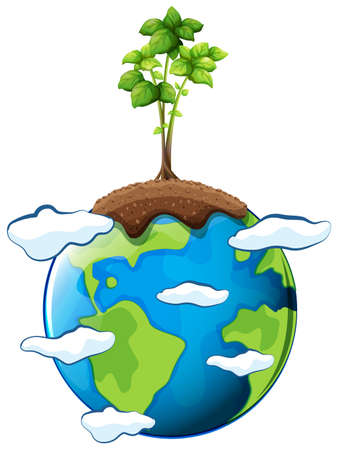 illustrated globe: Plant growing on earth illustration