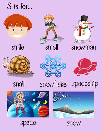 Different words begin with letter S illustration