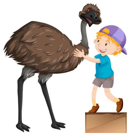 emu: Little boy and cute emu bird illustration Illustration