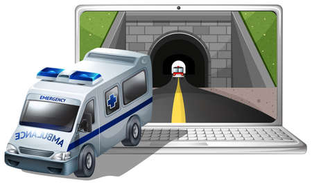 laptop outside: Computer screen with ambulance and tunnel illustration