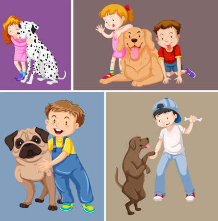 girl in nature: Children and pet dogs illustration