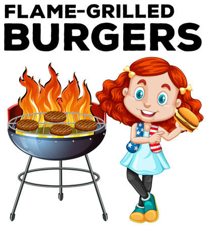 illustrated: Girl and flame-grilled burgers illustration