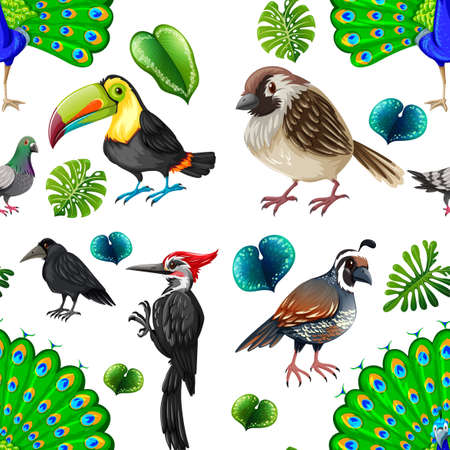 design objects: Seamless background with many wild birds illustration