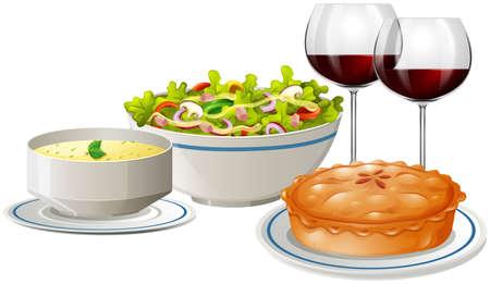 Set menu with food and wine illustration Illustration