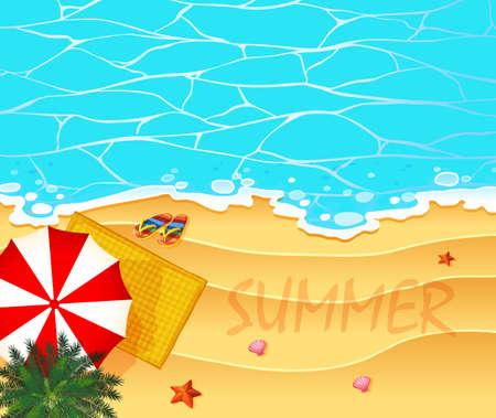 Sommerthema mit Ozean- und Strandhintergrundillustration