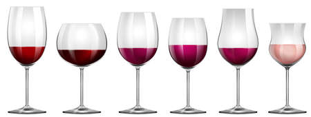 alcohol series: Different sizes of wine glasses illustration