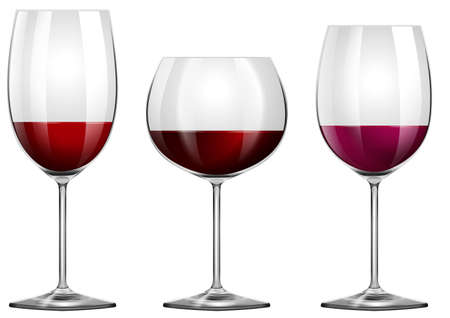 Three sizes of wine glasses illustration
