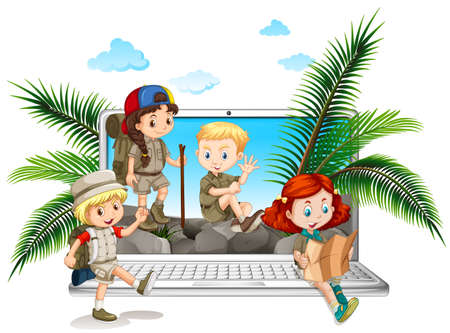 Children in safari outfit on computer screen illustration